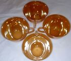 4 Fire King Peach Lustre coffee mugs 3 bands Demitasse cups shiny excellence!