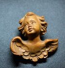 Vintage Hand Carved Wood Cherub Angel Bust Wall Plaque