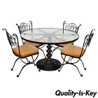 Woodard Andalusian Wrought Iron Patio Dining Set Round Pedestal Table 4 Chairs