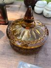 VINTAGE AMBER ROUND GLASS COVERED CANDY / TIDBIT/ DISH WITH LID INDIANA / FENTON