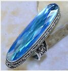 HUGE ANTIQUE STYLE BLUE TOPAZ STONE 925 STERLING SILVER STATEMENT RING SIZE 9