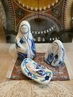 Nativity Set Blue Tulip Design Hand Painted in Turkey