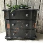 Vintage Small Primitive Black Painted 3 Drawer Chest