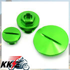 KAWASAKI ENGINE OIL PLUGS KIT SETS COVERS KXF250F 11-15 KX450F 0P-15 GREEN 38MM