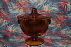 Indiana Amber Glass Candy Dish/Wedding Dish with Cover