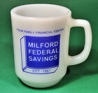 Milford Federal Savings Bank Anchor Hocking Fire King Milk Glass Coffee Mug Cup