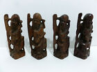 WOOD CHINESE ANTIQUE THE ANCIENTS HAND CARVED RED WOOD 4 GROUP OF FIGURINES 5306