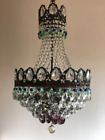 Vintage Light Brass Green Purple Crystal Chandelier LED Basket Ceiling Lighting