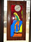 Vtg Beautiful Custom Stained Glass Window in African Zebra Wood Frame FREE SHP