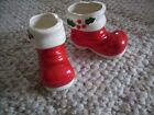 PAIR OF VINTAGE HOLT HOWARD CERAMIC MINI CHRISTMAS BOOTS DATED 1959