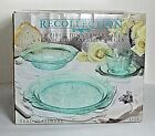 NOS Indiana Glass Recollection Teal 16 piece Dinnerware Set Orig Box 3009 Vtg