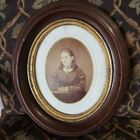 X2 ANTIQUE CIVIL WAR ERA WOOD OVAL PICTURE FRAME WITH ORIG GLASS