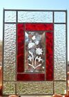 Beautiful Butterfly Etched Bevel Stained Glass Panel Window 12 5 8 x 9 3 4