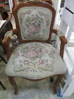 Vintage Wood Arm Chair - French Provincial Upholstered Man/Woman Tapestry Print
