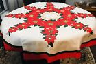 VINTAGE CHRISTMAS TABLECLOTH POINSETTIA RED GREEN THICK COTTON VERY NICE