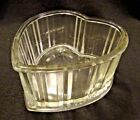 Vintage FTD 1982 heart shaped ribbed glass candy trinket dish floral container