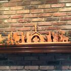 Modern Large Solid Carved White Oak WOOD NATIVITY Scene SET 15 Pieces