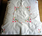 Vintage Tablecloth White Hand Embroidered Cross Cross Stitch Flowers 32.5