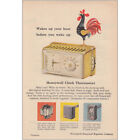1958 Honeywell Clock Thermostat: Wakes Up Your Heat Vintage Print Ad