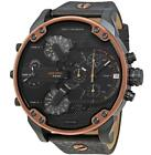 Diesel Men's Mr. Daddy Watch 57 x 66 mm Dual Time Leather Copper  DZ7400 NEW!