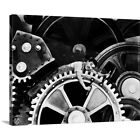 Solid Faced Canvas Print Wall Art entitled Charlie Chaplin B and W Modern Times