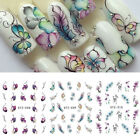 3 Sheets Flower Butterfly Nail Art Water Transfer DIY Stickers Decals Tips Decor