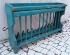 Vintage Hand Made Wooden Dish Hanger Old Wooden Blue Painted Dish Spoon Hanger