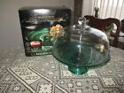 Cake Stand Anchor Hocking Wexford Green Footed Pedestal Plate and Clear Dome NEW