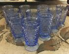 Set of 10 Indiana Glass Whitehall Light Blue Cubist Ice Tea Water Goblets