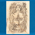 Nature Goddess Stamp by Rubber Tree Mother Earth Tree Waterfall Candle