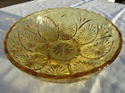 VINTAGE EAPG ANCHOR HOCKING STAR AND CAMEO SERVING BOWL YELLOW AMBER GLASS