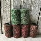 Primitive Small String Assortment Red Green Bowl Fillers Holiday Gift Wrapping