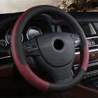 PU Leather Breathable Sport Car Steering-wheel Cover Universal Black Wine Red