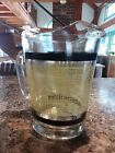 Vintage Glass Ice Lip Beverage Beer Pitcher 2 QT Black Yellow Burlap Chip Free!