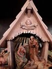 Vintage Lighted ANRI Nativity Wood Music Box Silent Night Moving Angels Thorens