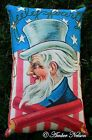 4th of July BEAUTIFUL Uncle Sam stars stripes antique postcard pillow bbq decor
