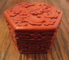 vintage hand carved asian enamel lacquer cinnabar pill trinket snuff box bottle