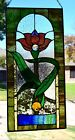 Victorian Water Lily Stained Glass Window Panel