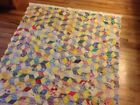 COLORFUL Antique/Vtg TUMBLING BLOCKS quilt/ throw 56