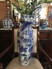 Chinese Blue and White Porcelain Crackle Vase. ( Stamped Made in China )