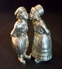 Antique Silver Salt Pepper Shakers Figural Dutch Boy Girl Kissing 800 8.3oz 4.2