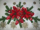 VINTAGE CHRISTMAS TABLECLOTH MID CENTURY STARBURST PINE POINSETTIA