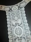 1900s Long Collar Dress Front Antique Hand Made Bobbin Guipure Net Lace White