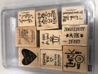 Stampin Up set Rubber stamps Thank you heart gift friend etc 9 total