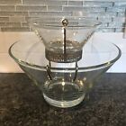VINTAGE ANCHOR HOCKING 3 PC CHIP AND DIP CLEAR GLASS SET HOLIDAYS MCM