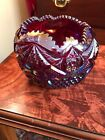 VINTAGE INDIANA HEIRLOOM SUNSET RED CARNIVAL GLASS ROSE BOWL  SAWTOOTH TOP
