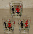 3 Vintage Libbey Gay 90s Swimmers Beach Bathers Cocktail Bar Old Fashion Glasses
