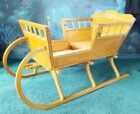RARE Antique Vintage Wood Baby, Doll Crib Cradle Sleigh Bed Handcrafted