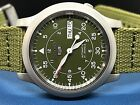 Seiko 5 Men's SNK805  Automatic Stainless Steel Watch with Green Canvas Strap