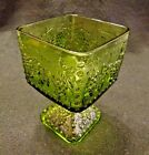 Vintage Harvest Grape Design Compote Square Candy Dish Green Indiana Glass USA